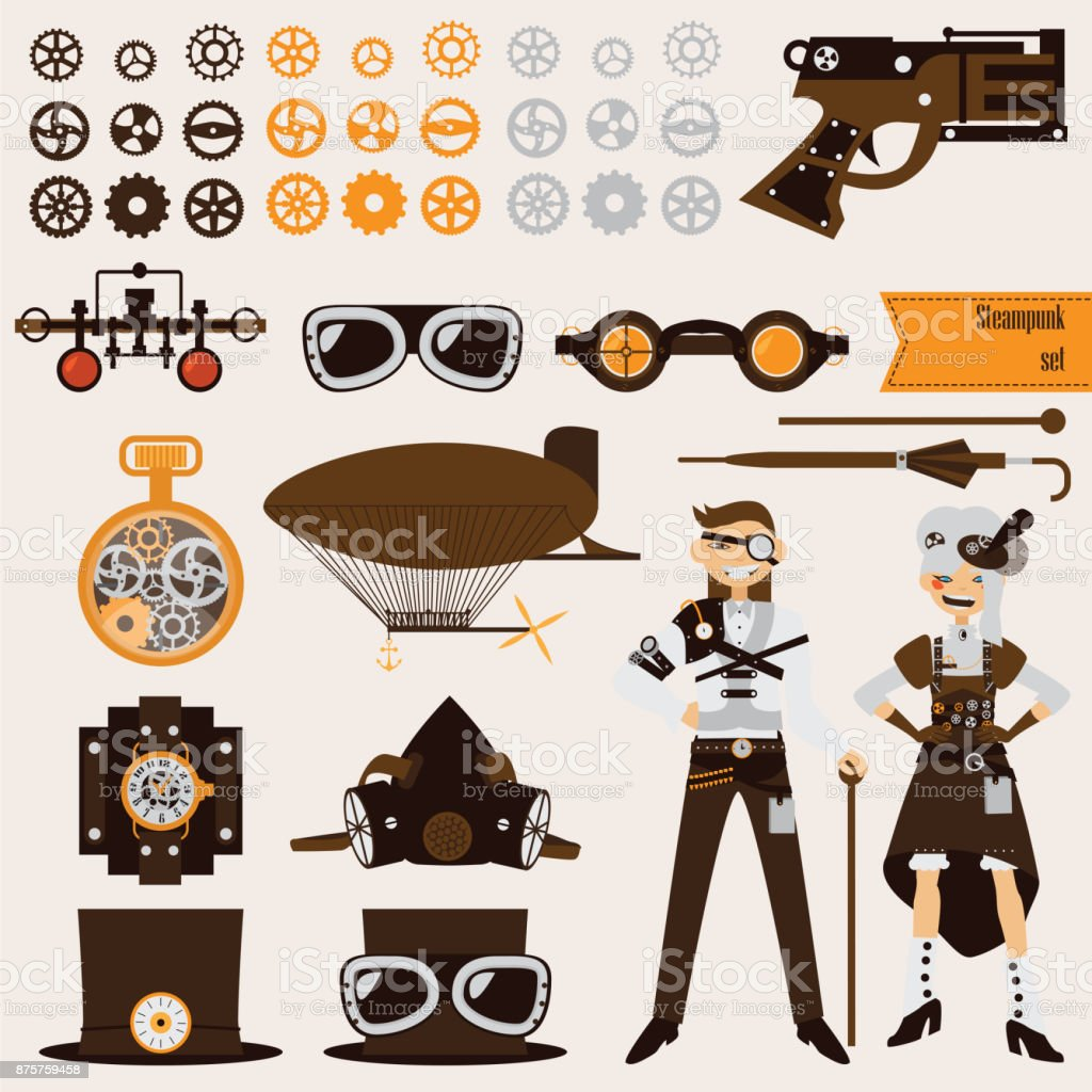 Steampunk objects and characters set. vector art illustration