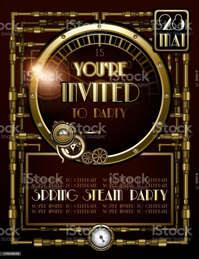Steampunk Party Invitations vector art illustration