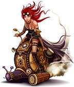 Steampunk Pin-Up Girl riding a snail. Illustration in the style of steampunk. EPS 10. Transparency and color blends.