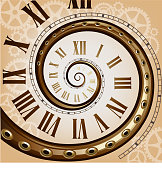 Steampunk clock face in the form of octopus. 10 EPS.