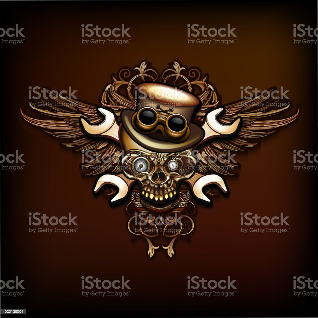 Steampunk skull emblem vector art illustration