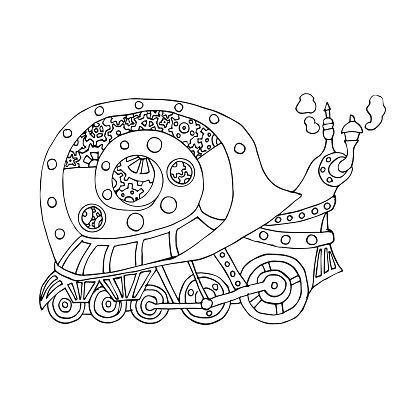 Steampunk style snail. Mechanical animal. Coloring book for adult and children vector illustration. antistress coloring. linear drawing of the robot's snail isolated on a white background.