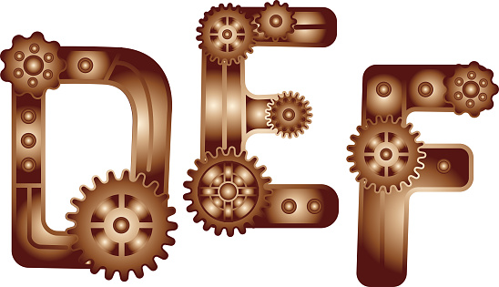 Steampunk Style Typeface. Mechanical alphabet of gears. letter D E F. Vector illustration of vintage steampunk alphabet for logo and text. Children's alphabet. Funny mechanisms for kids.