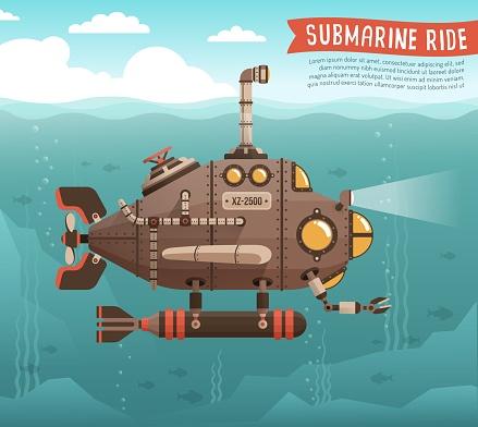 Steampunk submarine in the ocean