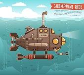 istock Steampunk submarine in the ocean 1230592038