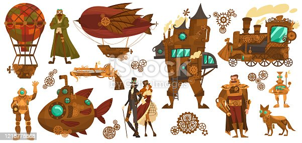 Steampunk technology, fantasy vintage transport and people cartoon characters, vector illustration. Mechanical vehicle, airship, submarine, hot air balloon and train. Steam punk invention isolated set