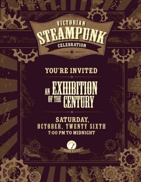 steampunk stil-einladung design-vorlage - steampunk stock-grafiken, -clipart, -cartoons und -symbole