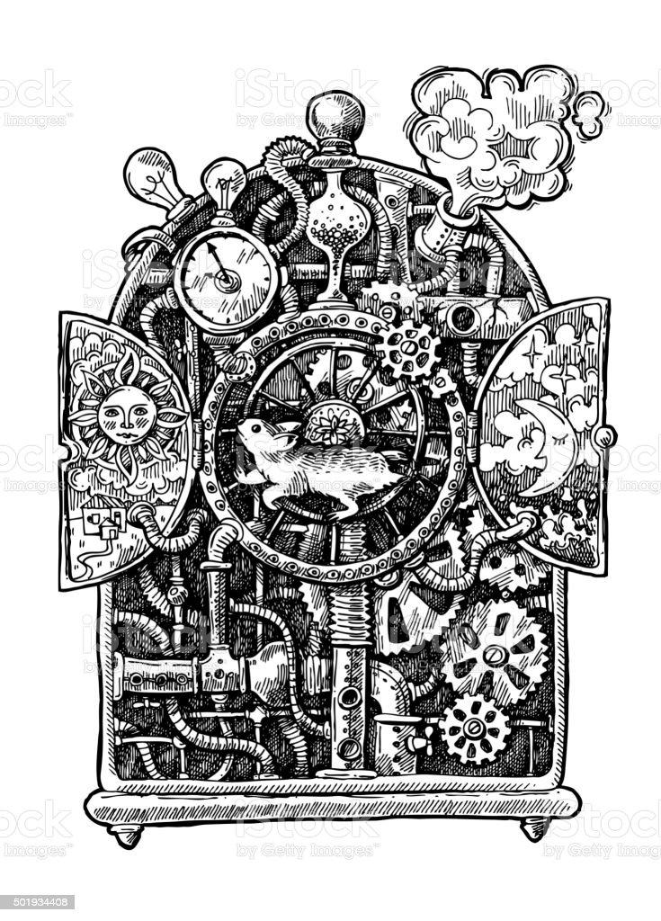 steampunk time machine vector art illustration