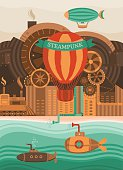 Steampunk vector background