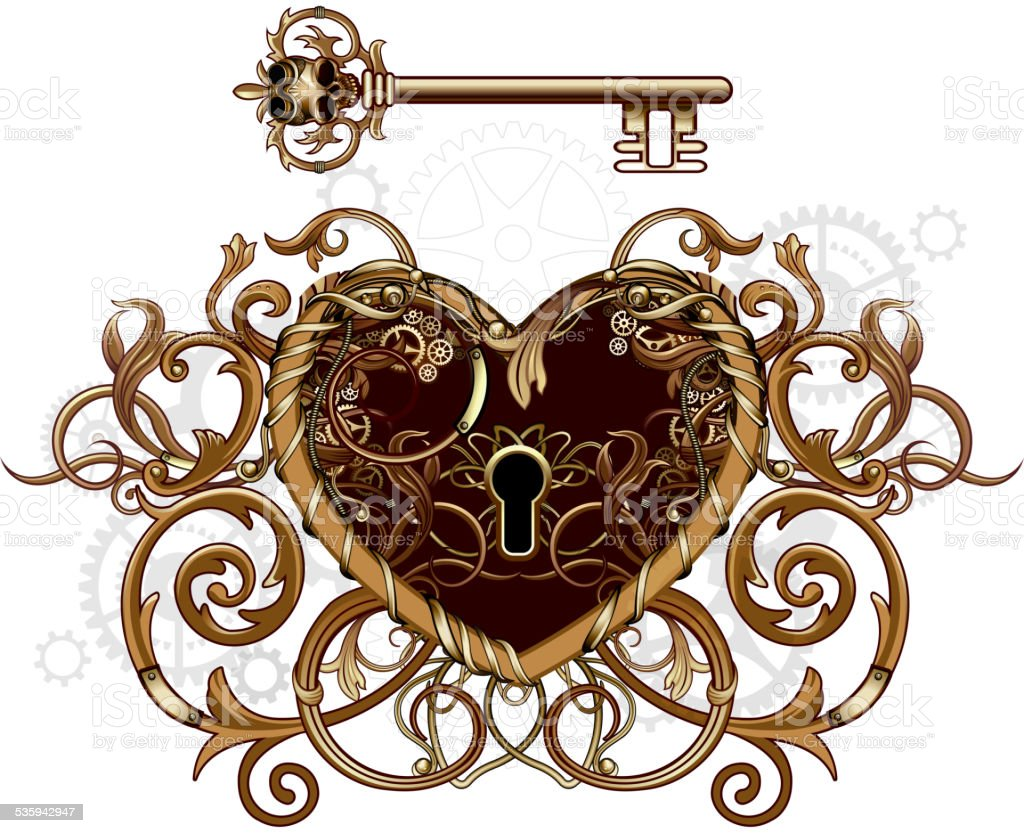Steampunk Victorian Heart Symbol Stock Vector Art More Images Of