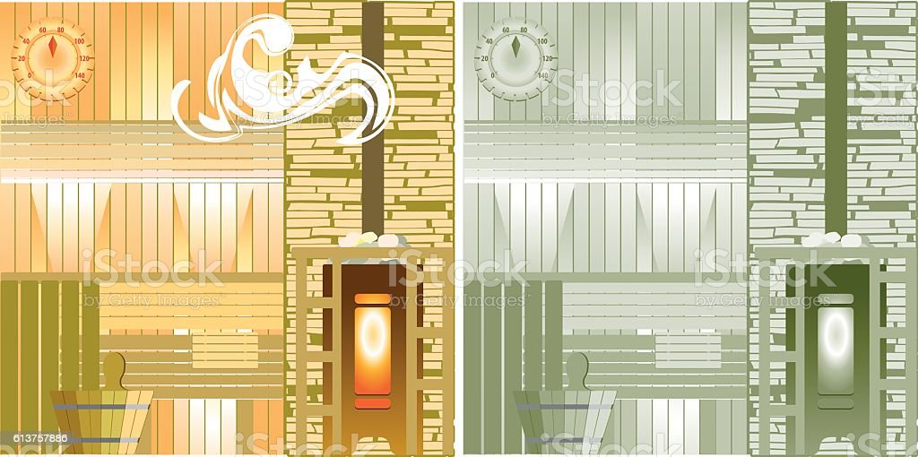 Steam-room drawing. Sauna for relaxation. Fat design. vector art illustration