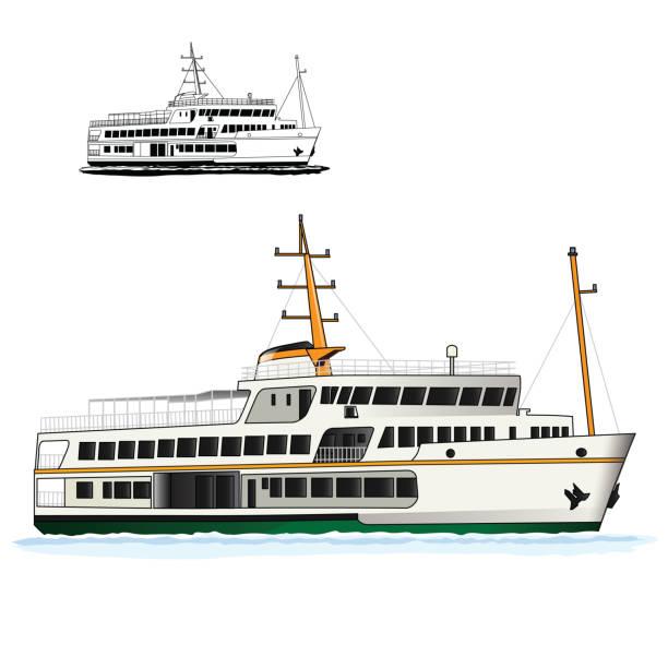 steamship vector art illustration