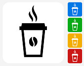 Steamy Coffee Cup Icon Flat Graphic Design