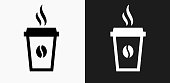Steamy Coffee Cup Icon on Black and White Vector Backgrounds. This vector illustration includes two variations of the icon one in black on a light background on the left and another version in white on a dark background positioned on the right. The vector icon is simple yet elegant and can be used in a variety of ways including website or mobile application icon. This royalty free image is 100% vector based and all design elements can be scaled to any size.