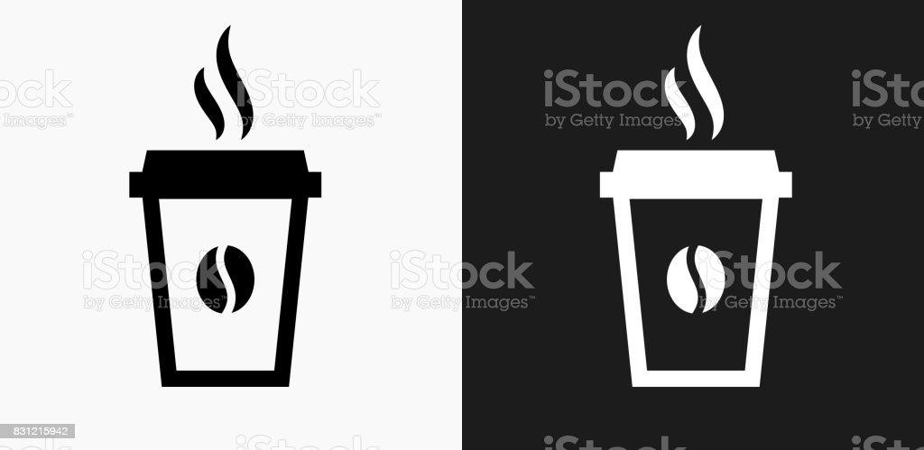Steamy Coffee Cup Icon on Black and White Vector Backgrounds vector art illustration