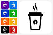 Steamy Coffee Cup Icon Square Button Set. The icon is in black on a white square with rounded corners. The are eight alternative button options on the left in purple, blue, navy, green, orange, yellow, black and red colors. The icon is in white against these vibrant backgrounds. The illustration is flat and will work well both online and in print.