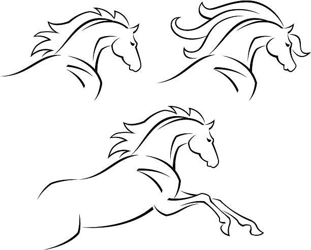 steed - mustangs stock-grafiken, -clipart, -cartoons und -symbole