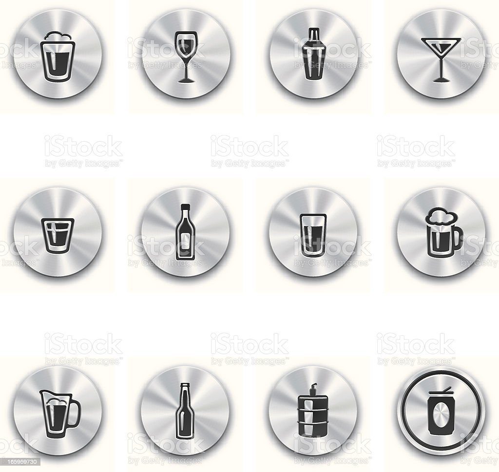 Steel Alcohol Buttons royalty-free stock vector art