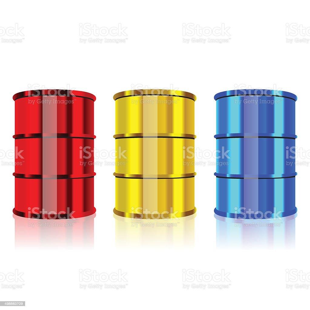 Steel barrels vector art illustration