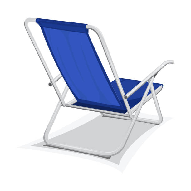 Steel beach chair Steel blue beach chair isolated on white background outdoor chair stock illustrations