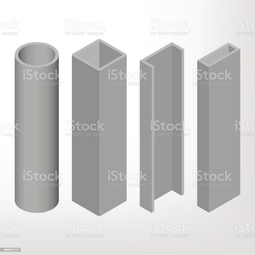Steel beam isometric vector illustration. vector art illustration