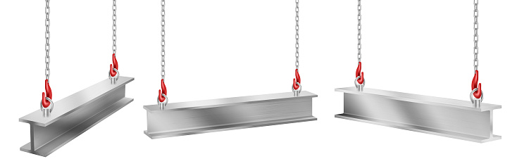 Steel beams hanging on chains with hooks set.