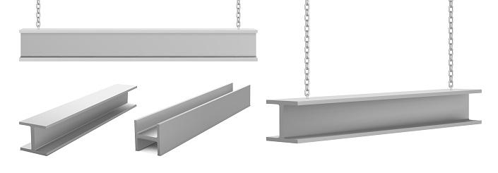 Steel beams metal industrial girders on chain