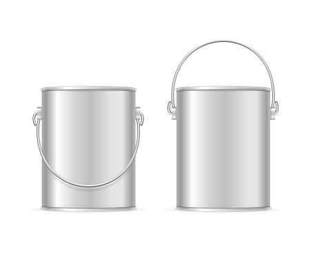 Steel Can Bucket Set. Vector