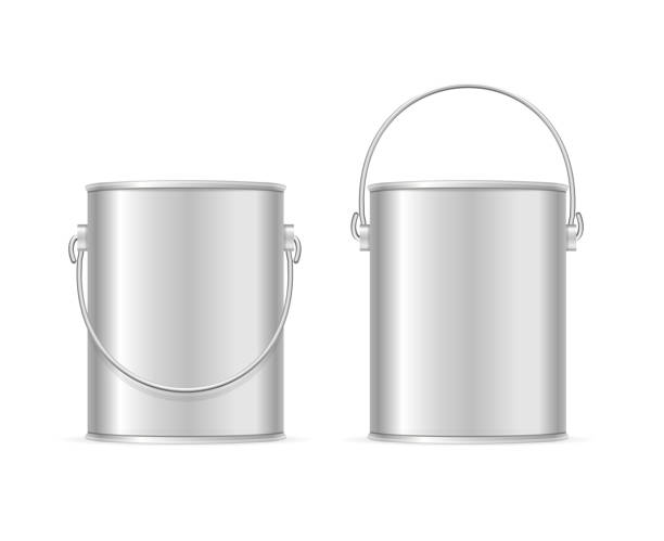 Steel Can Bucket Set. Vector Steel Can Bucket Set Realistic Template Empty Blank. Element Of Equipment Housework or Repair. Vector illustration paint can stock illustrations