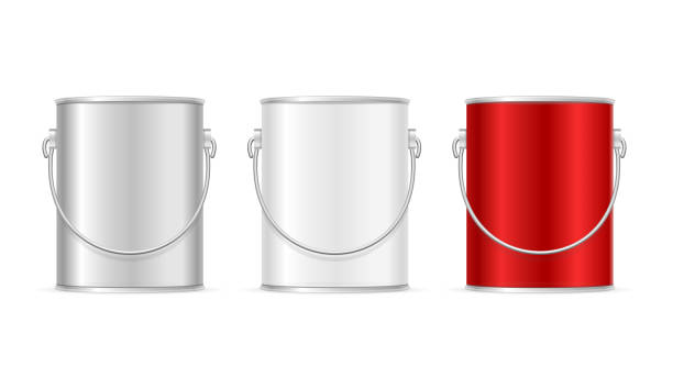 Steel Can Bucket Set. Vector Color Paint Steel Can Bucket Set for Home Renovation and Interior Design. Vector illustration paint can stock illustrations