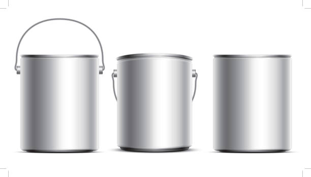 Steel Can Buckets Metal tin set paint can stock illustrations