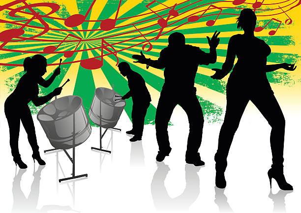 Steel Drum Calypso Street Party vector art illustration