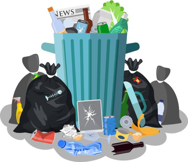 bildbanksillustrationer, clip art samt tecknat material och ikoner med stål soptunna full av skräp. - food waste