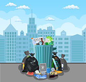 Steel garbage bin full of trash. Overflowing garbage, food, rotten fruit, papers,containers and glass. Garbage recycling and utilization equipment. Vector illustration in flat style