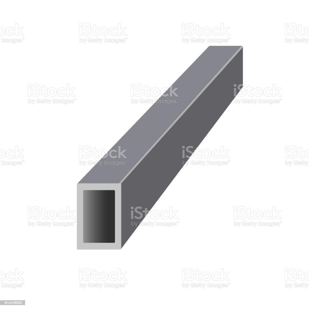 Steel hollow rectangular bar. vector art illustration