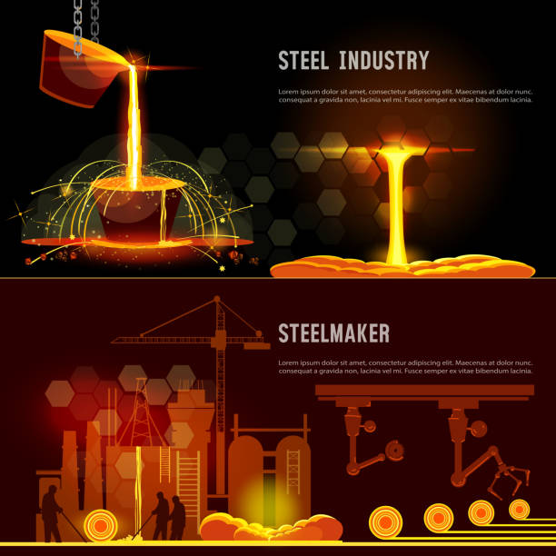 Steel industry banner. Hot steel pouring in steel plant. Smelting of metal in big foundry. Iron and factory workshop. Steel worker. Metallurgy process vector art illustration