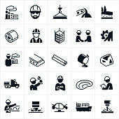 A set of icons representing the steel industry. The icons include a steel manufacturing plant, blue collar workers working and wearing hard hats, steel alloy, steel beams, sheets of steel, steel rods, a building made of steel, manufacturing of steel, a smelter, the transportation by truck and barge of steel products and other related icons. They also show the raw materials used to make steel and include iron and carbon and the mining process for these materials.