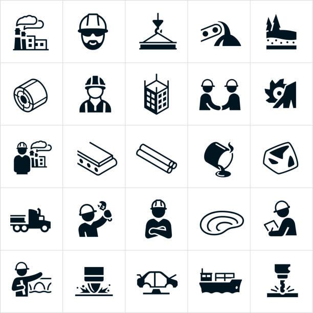 illustrations, cliparts, dessins animés et icônes de icônes de l'industrie sidérurgique - acier