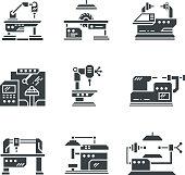 Steel industry machine tools vector icons