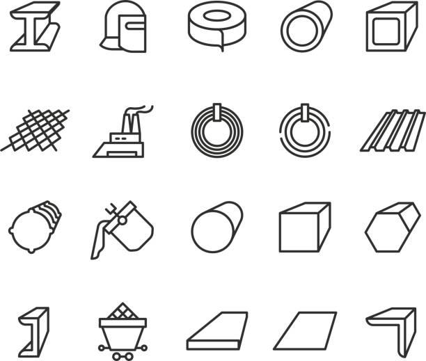 stahl-materielle produkte linie vektor-icons. stahlrohr und beam metallurgie übersicht piktogramme - metallverarbeitung stock-grafiken, -clipart, -cartoons und -symbole