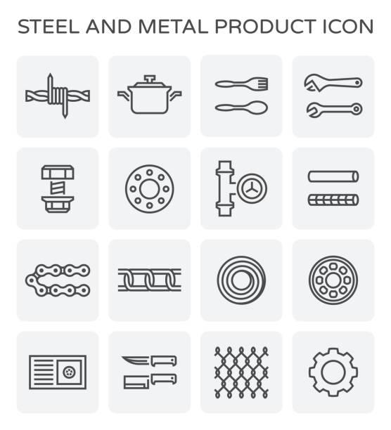 stahl metall symbol - metallverarbeitung stock-grafiken, -clipart, -cartoons und -symbole