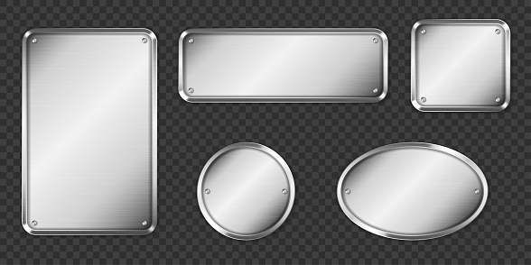 Steel or silver plates, name plaques empty mockup