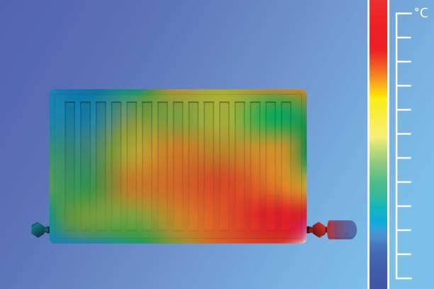 stahl-flachheizkörper. ausrüstung für die beheizung einer wärmebildkameras. das konzept des energiesparens. - infrarotfotografie stock-grafiken, -clipart, -cartoons und -symbole