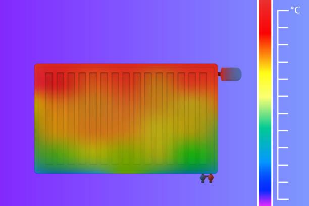 stahl-flachheizkörper für heisses wasser. der wärmefluss wird durch ein thermostatventil gesteuert. eine wissenschaftliche studie wärmebildkamera. - infrarotfotografie stock-grafiken, -clipart, -cartoons und -symbole
