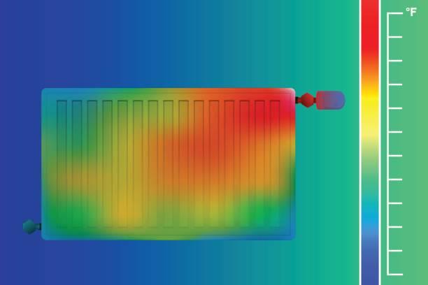stahl-flachheizkörper. hvac-ausrüstung-wärmebildkamera. - infrarotfotografie stock-grafiken, -clipart, -cartoons und -symbole