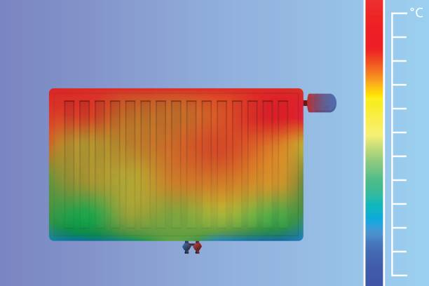 stahl-flachheizkörper an der wand. thermografische farbbild der scan kamera. - infrarotfotografie stock-grafiken, -clipart, -cartoons und -symbole