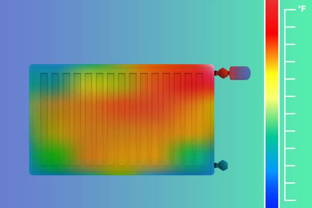 stahl-flachheizkörper an der wand. heizung für eine wärmebildkamera. thermografische farbbild der scan kamera. die temperaturverteilung durch die wand in den raum. - infrarotfotografie stock-grafiken, -clipart, -cartoons und -symbole
