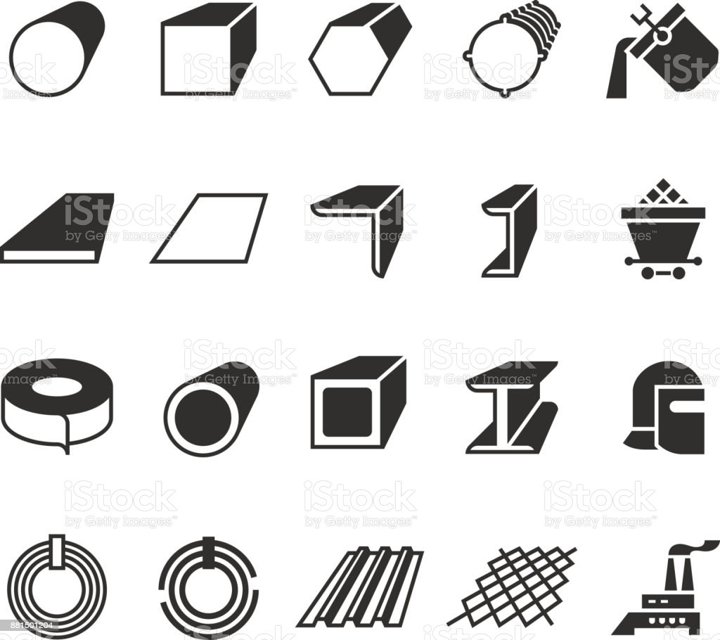 steel pipe and roll steel metal product vector icons stock vector