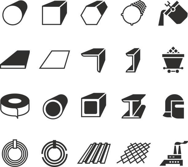 illustrations, cliparts, dessins animés et icônes de tuyaux en acier et icônes vectorielles des produits métalliques en acier de rouleau - acier