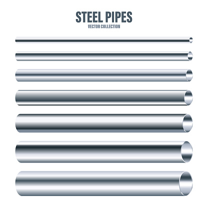 Steel pipes collection. Construction material. Polished metal texture. Silver gradient. Vector illustration